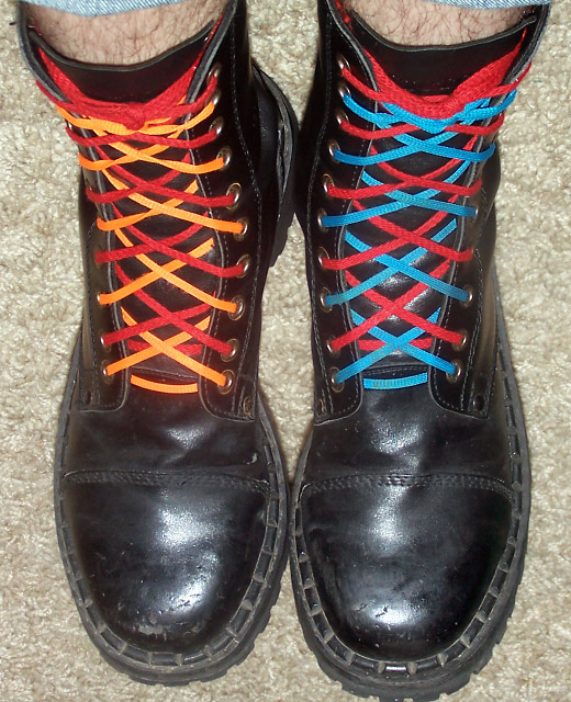 Black boots with red, orange & cyan Double Lacing (from Szymon W)