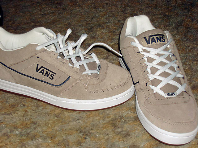 Tan Vans sneakers with navy blue & white trim and white Lug Hash Lacing (from Kevin M)