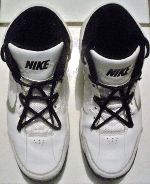 White Nike sneakers with black trim and black Pentagram Lacing (from Ivan S)