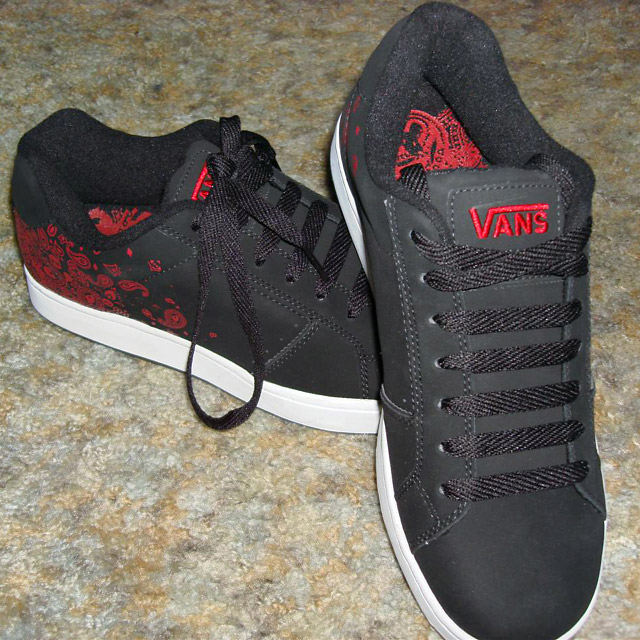 Patterned black & red Vans sneakers with white trim and black Straight Bar Lacing (from Kevin M)
