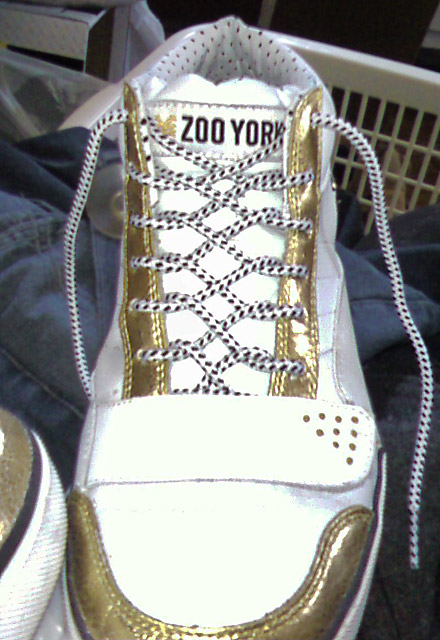 White Zoo York Hi-Tops with gold & black trim and white & black Zipper Lacing (from Allaina M)