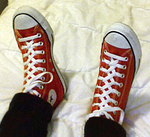 Red Converse Hi-Tops with white & black trim and white Zipper Lacing (from Bella M)