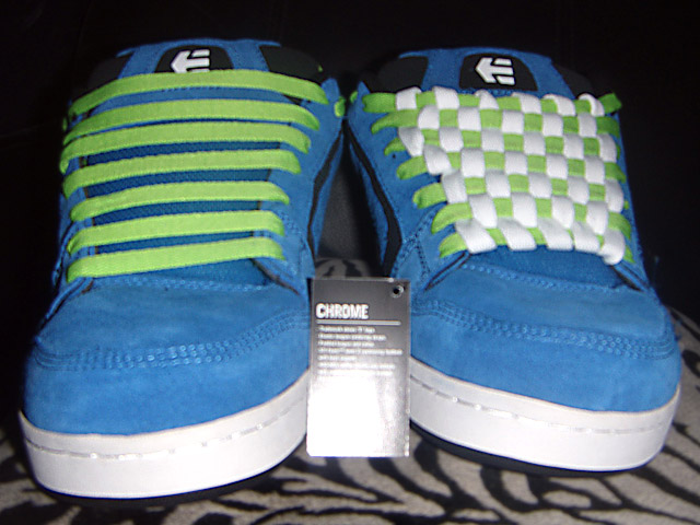 Blue Etnies Chromes with black & white trim and green & white Checkerboard Lacing (from Mike C)