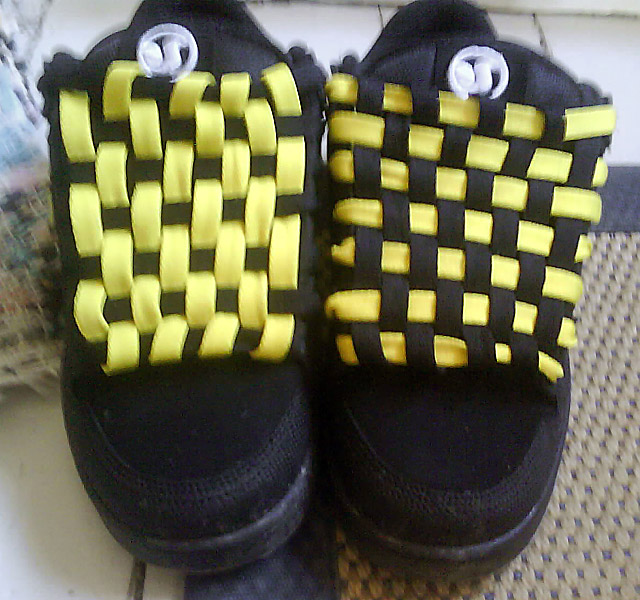 Black DVS Shoe Company skate shoes with yellow & black Checkerboard Lacing (from Jakob H)