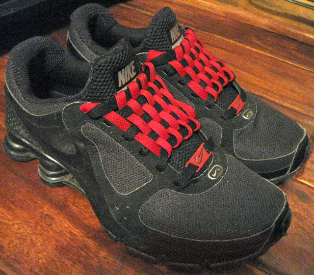 Black Nike Shox with red & black Checkerboard Lacing (from Curtis E)