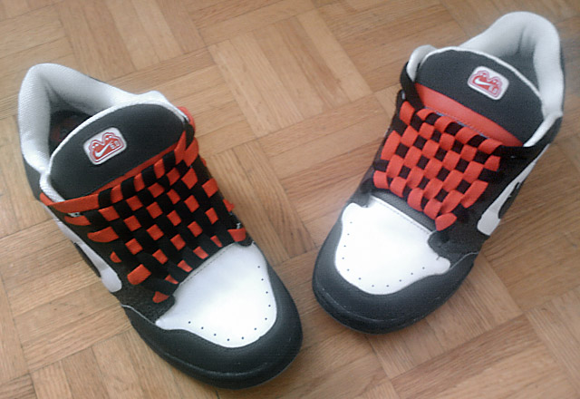 Black & white Nike Air Morgans with red trim and red & black Checkerboard Lacing (from Dave S)