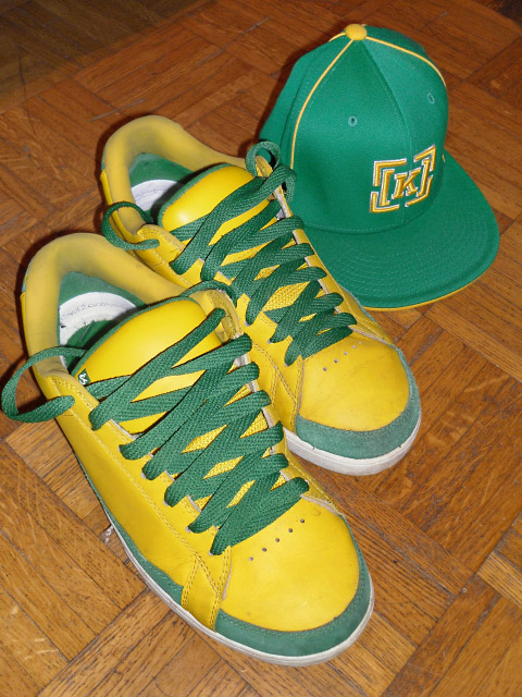 Yellow Es (és) Kostons with green & white trim and green Criss Cross Lacing (from Fabio)