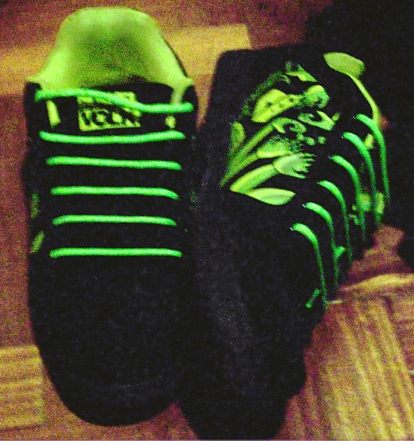 Patterned green & black Dunkel Volk sneakers with green Hidden Knot Lacing (from Eduardo A)