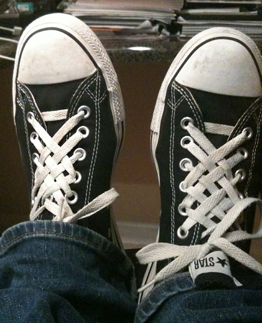 Black Converse All-Stars with white trim and white Lattice Lacing (from Ryan B)