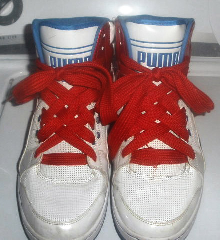 White Puma Unlimited Highs with cyan & red trim and red Lattice Lacing (from Carlos)