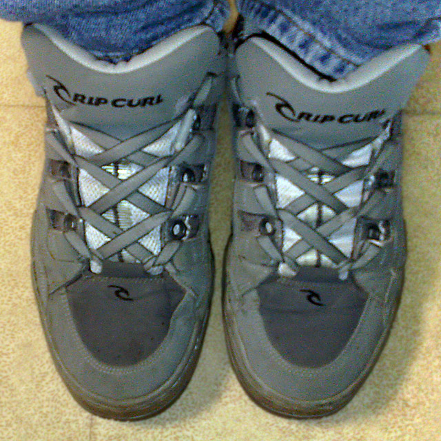 Grey Rip Curl sneakers with light grey & dark grey trim and grey Lug Zipper Lacing (from Davy)
