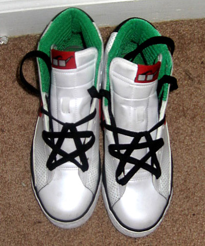 White Nike Blazer Highs with red, green & black trim and black Pentagram Lacing (from (rapper) Lil Wayne)