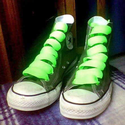Green Converse All-Stars with black & white trim and fluoro green Straight Bar Lacing (from Mimi H)
