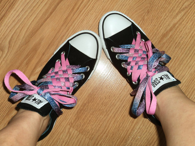 Black Converse All-Stars with white trim and sparkling cyan & pink Angled Checker Lacing (from Michelle W)