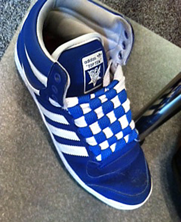Blue & white Adidas sneakers with blue & white Checkerboard Lacing (from Sean B)