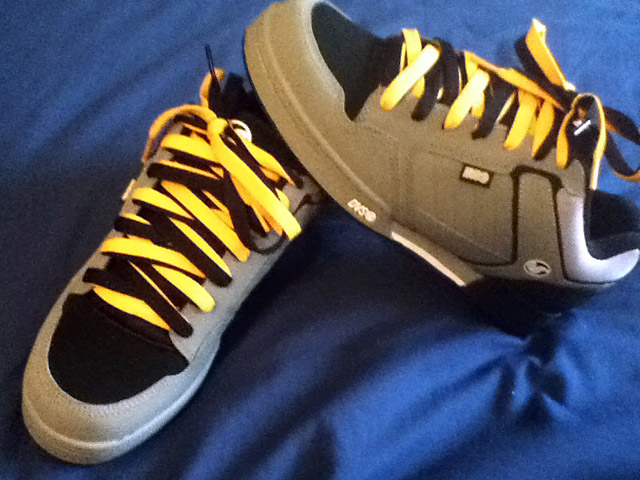 Grey DVS Shoe Company Transoms with black & white trim and yellow & black Double Sided Lacing (from Steven M)