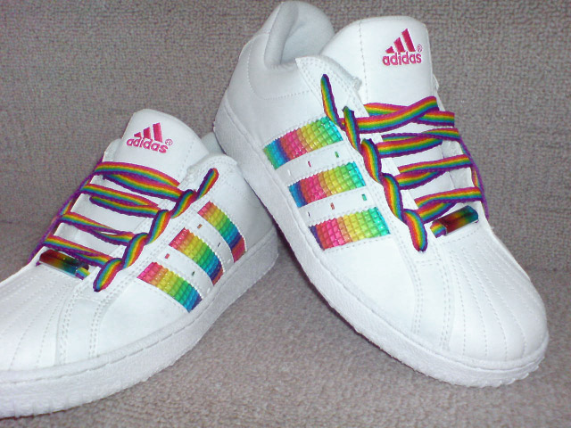 White Adidas trainers with rainbow-colored trim and rainbow-colored Ladder Lacing (from Katie S)