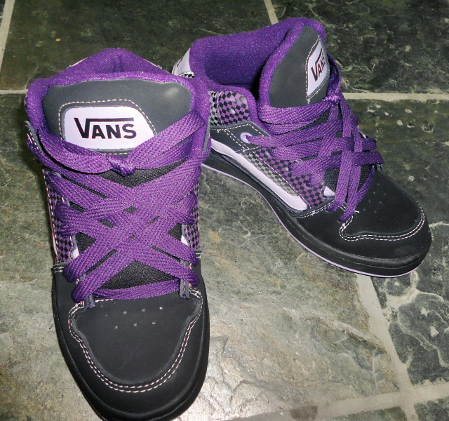 Black Vans sneakers with patterned purple & white trim and purple Lattice Lacing (from Helen P)