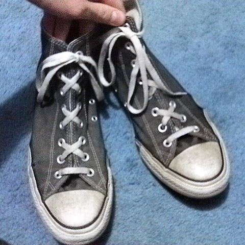 Grey Converse Hi-Tops with white & black trim and white Over Under Lacing (from Nathan P)