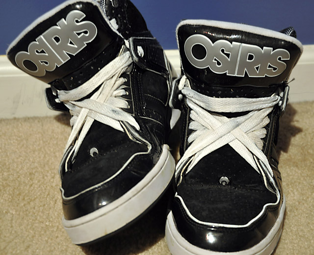 Black Osiris NYC 83s with white & silver trim and white Supernova Lacing (from RP)