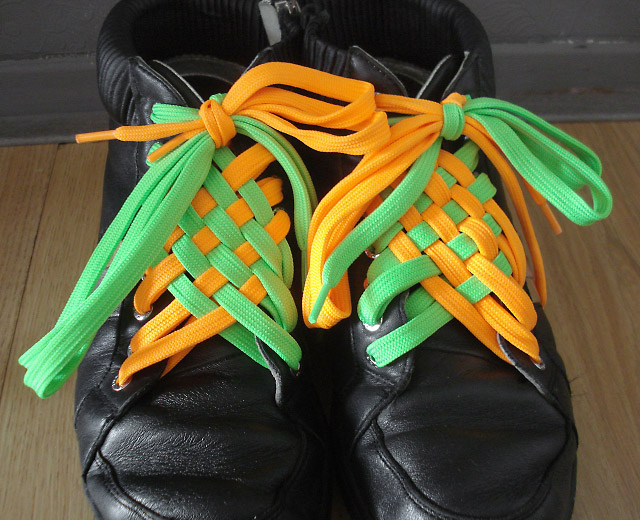 Black sneakers with fluoro orange & fluoro green Angled Checker Lacing (from Peter H)
