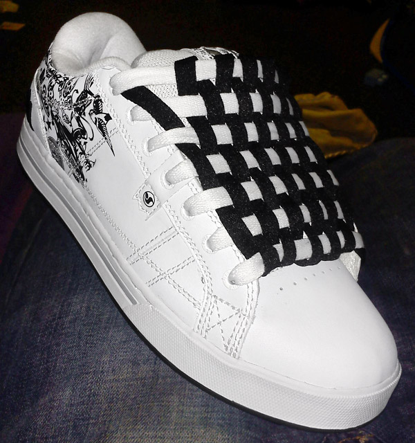 Patterned black & white DVS Shoe Company Monuments with black & white Checkerboard Lacing (from Tate H)