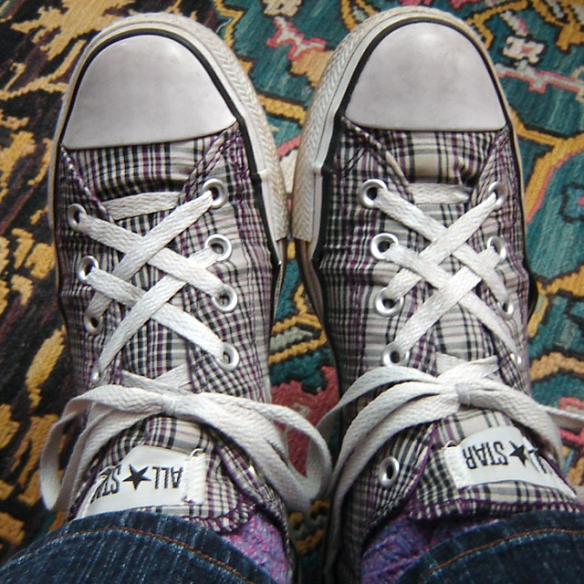 Tartan Converse All-Stars with white & black trim and white Hash Lacing (from Emily B)