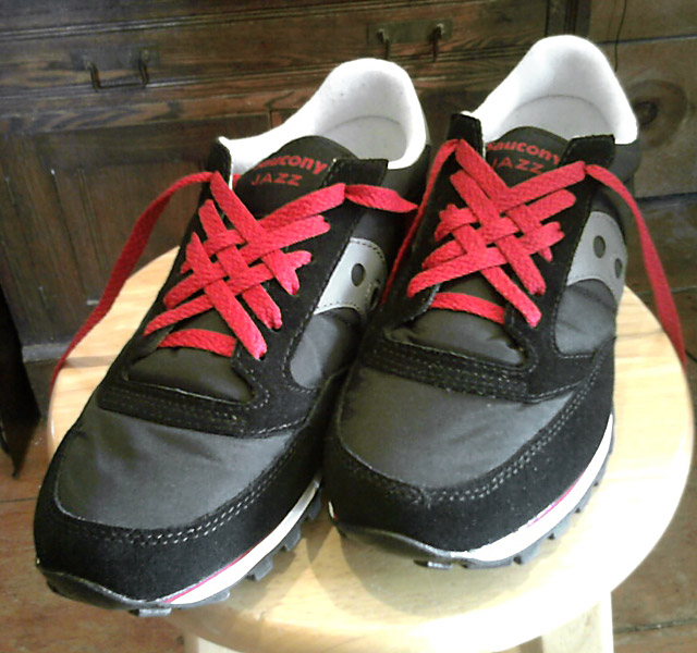 Black & grey Saucony Jazz sneakers with white trim and red Lattice Lacing (from Morgan L)