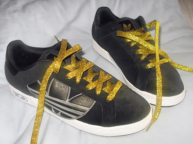 Patterned black & white Adidas Trefoil STs with sparkling gold Over Under Lacing (from Francesco V)