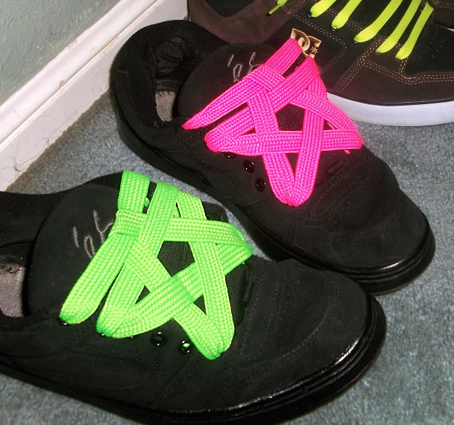 Black Es (és) sneakers with fluoro green & fluoro pink Pentagram Lacing (from Ross L)