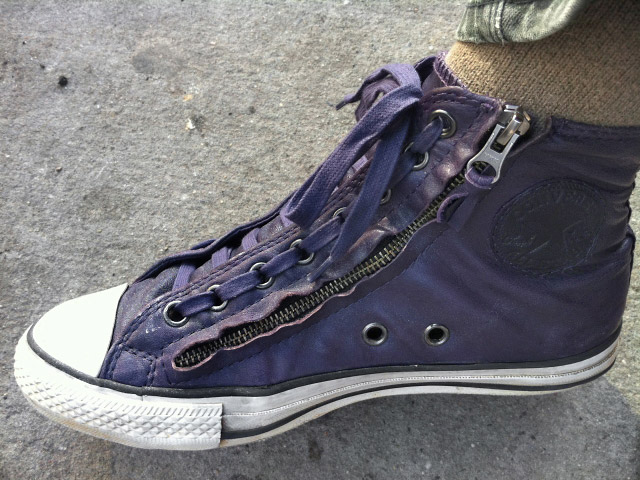 Purple Converse John Varvartos with black & white trim and purple Train Track Lacing (from Jeff R)