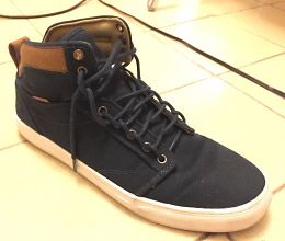 Charcoal grey sneakers with white & tan trim and charcoal grey Ladder Lacing (from Michael)
