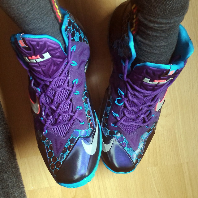 Patterned cyan & black Nike LeBron 11s with purple trim and purple Woven Lacing (from Sascha W)
