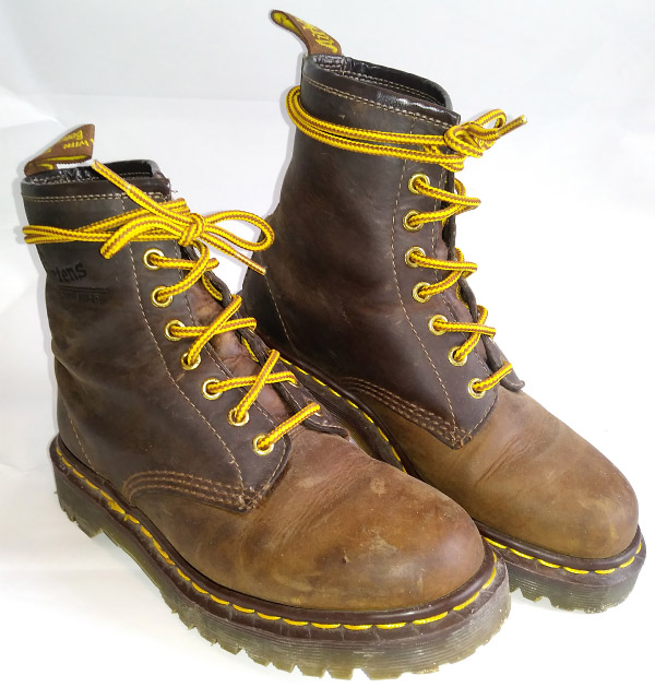 Dark brown & brown Doc Martens boots with yellow trim and yellow & brown Bow Tie Lacing (from Jenny C)