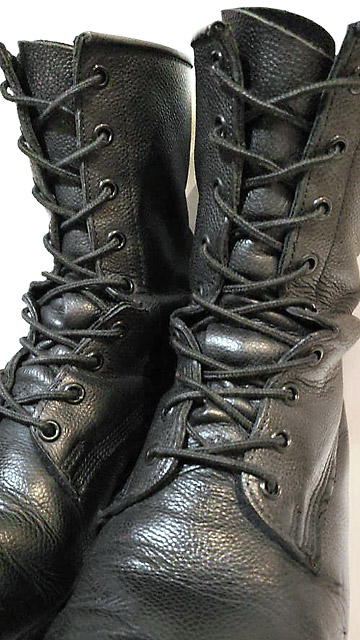 Black combat boots with black CAF Combat Boot Lacing (from Christopher I)