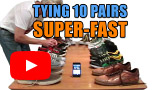 Watch video: Super-fast tying ten pairs of shoes